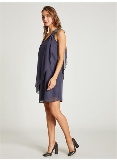 Vekem-Limited Edition Tek Omuz Payet Detaylı Şifon Elbise Gri